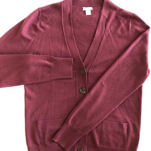 J CREW BURGUNDY UNIVERSITY CARDIGAN SWEATER SIZE S